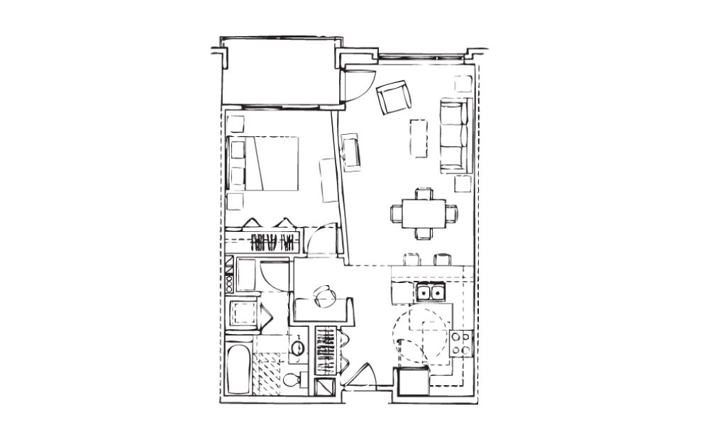 EH-A4 - 1 bedroom floorplan layout with 1 bath and 728 square feet.