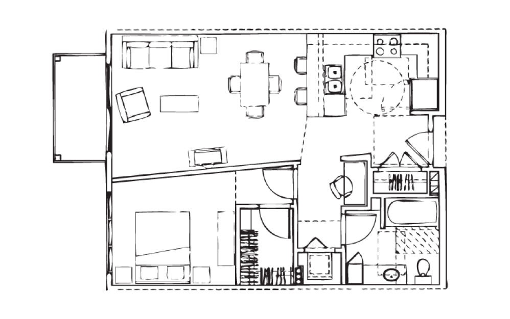 EH-A5 - 1 bedroom floorplan layout with 1 bath and 738 square feet.