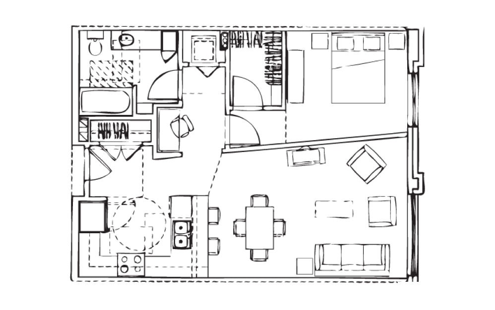 EH-A7 - 1 bedroom floorplan layout with 1 bath and 774 square feet.