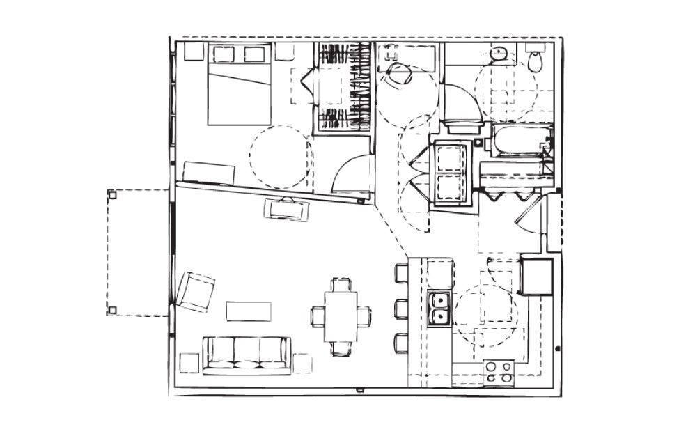 EH-A8 - 1 bedroom floorplan layout with 1 bath and 891 square feet.