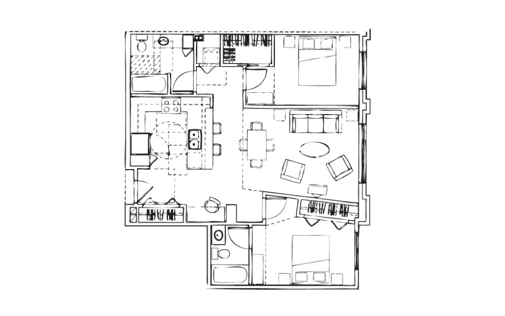 EH-B1 - 2 bedroom floorplan layout with 2 baths and 983 square feet.