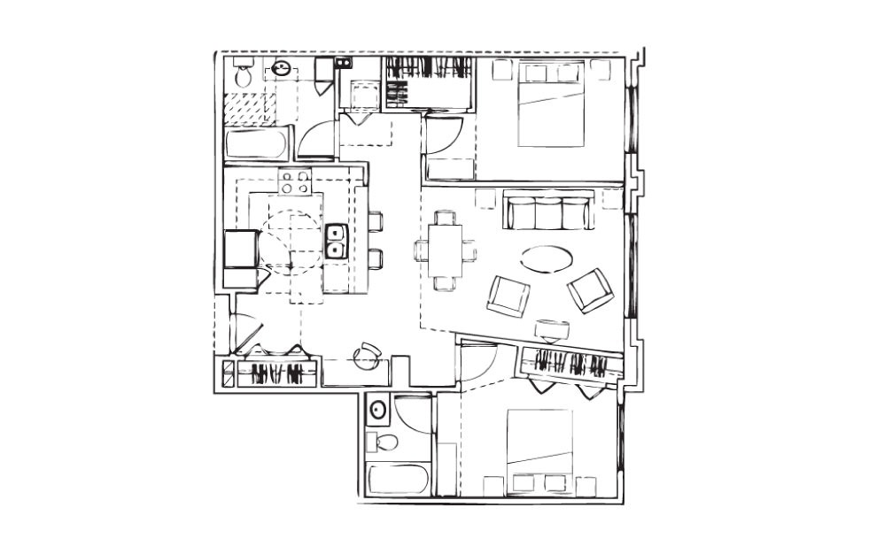 EH-B2 - 2 bedroom floorplan layout with 2 baths and 1009 square feet.