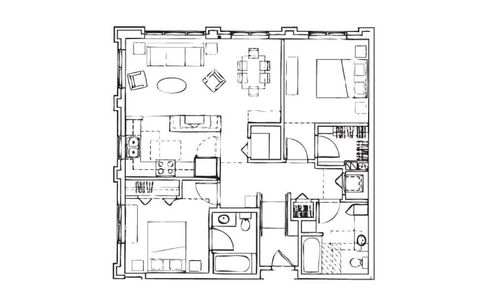 EH-B4 - 2 bedroom floorplan layout with 2 baths and 1011 square feet.