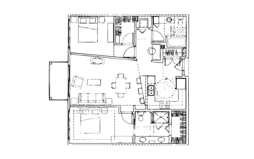 EH-B5 - 2 bedroom floorplan layout with 2 baths and 1056 square feet.