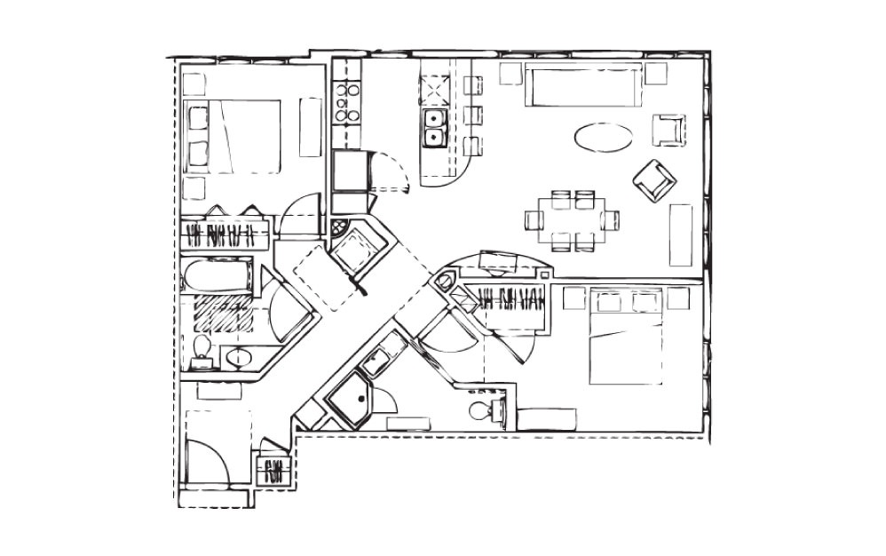EH-B6 - 2 bedroom floorplan layout with 2 baths and 1067 square feet.