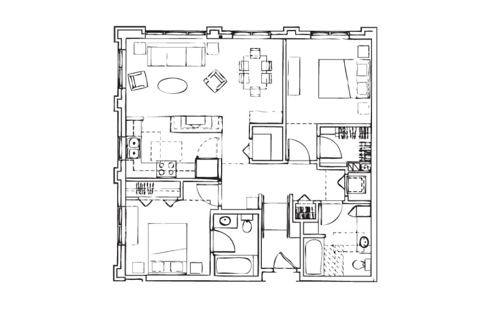 EH-B7 - 2 bedroom floorplan layout with 2 baths and 1076 square feet.