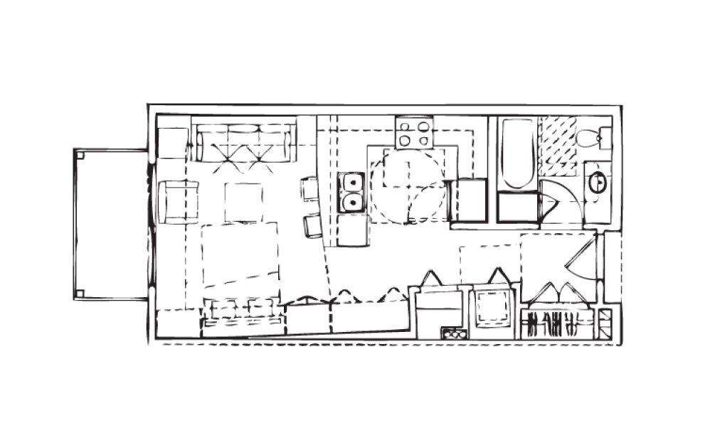 EH-Stu1 - Studio floorplan layout with 1 bath and 492 square feet.