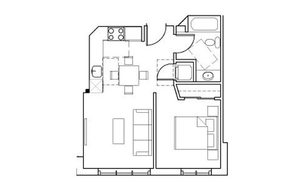 SB-A1 - 1 bedroom floorplan layout with 1 bath and 437 square feet.
