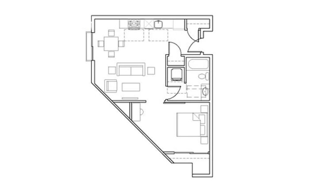 SB-A2 - 1 bedroom floorplan layout with 1 bath and 611 square feet.