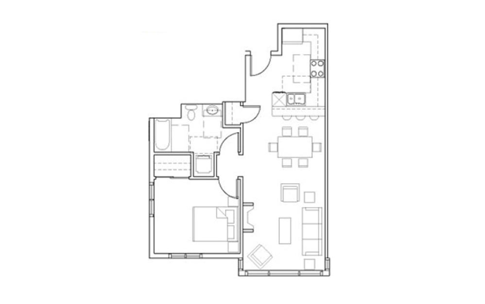 SB-A3 - 1 bedroom floorplan layout with 1 bath and 747 square feet.