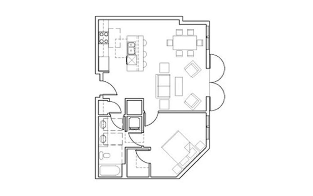 SB-A4 - 1 bedroom floorplan layout with 1 bath and 807 square feet.