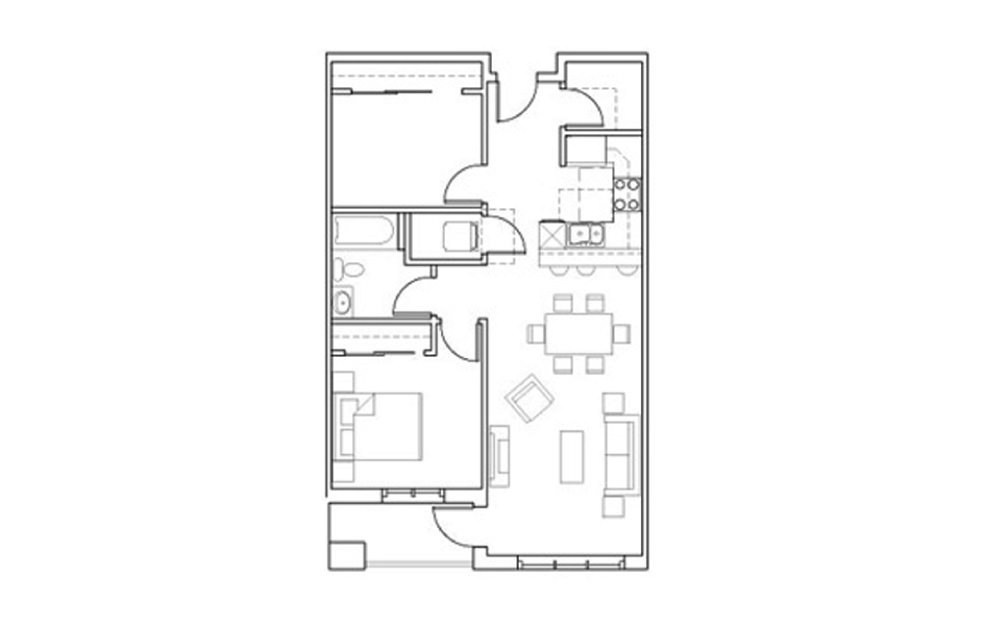 SB-A5 - 1 bedroom floorplan layout with 1 bath and 819 square feet.