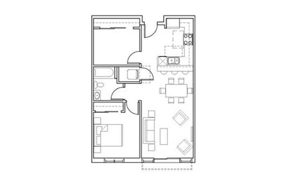 SB-A7 - 1 bedroom floorplan layout with 1 bath and 857 square feet.