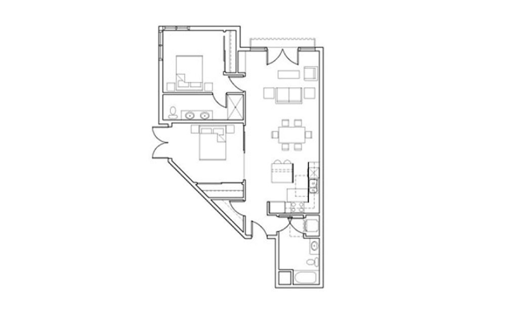 SB-B3 - 2 bedroom floorplan layout with 2 baths and 1124 square feet.