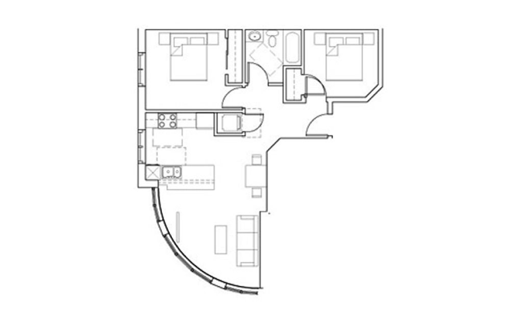 SB-Den1 - 1 bedroom floorplan layout with 1 bath and 722 square feet.