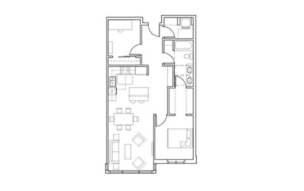 SB-Den2-3 - 1 bedroom floorplan layout with 1 bath and 940 square feet.