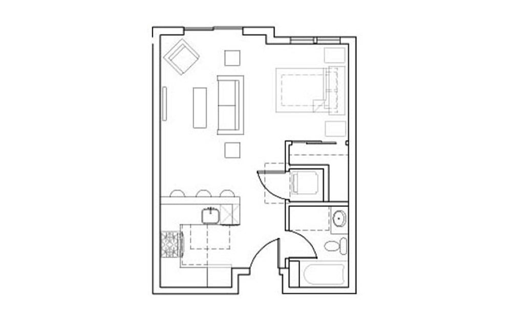 SB-Stu1 - Studio floorplan layout with 1 bath and 468 square feet.