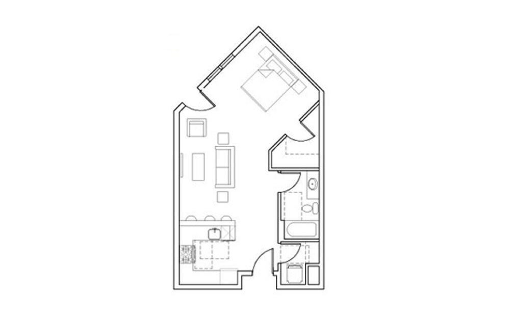 SB-Stu2 - Studio floorplan layout with 1 bath and 542 square feet.