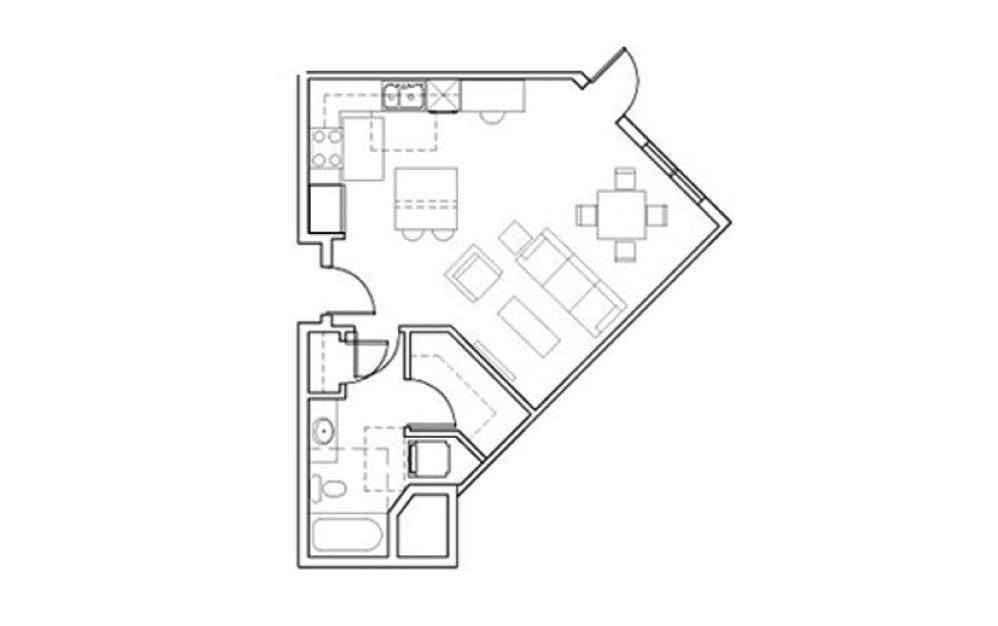 SB-Stu3 - Studio floorplan layout with 1 bath and 568 square feet.