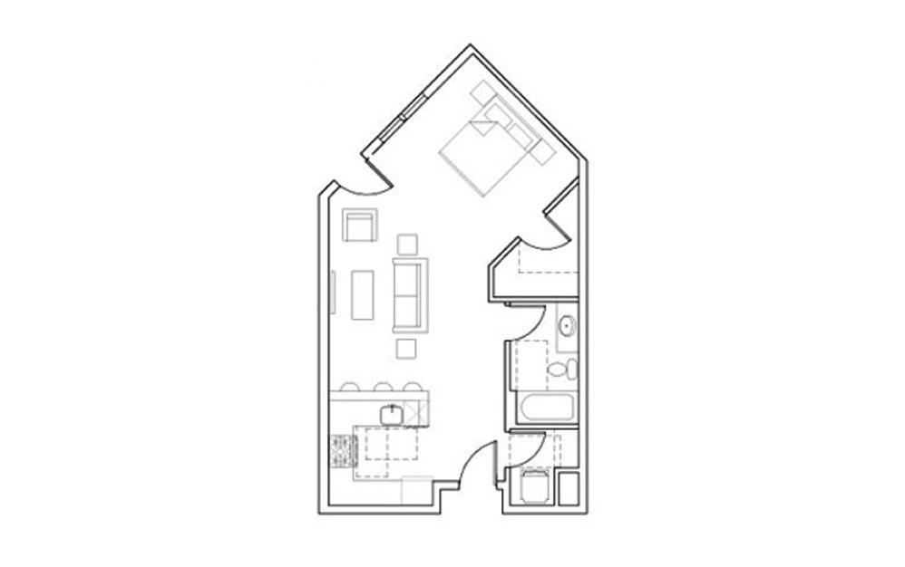SB-Stu4 - Studio floorplan layout with 1 bath and 610 square feet.