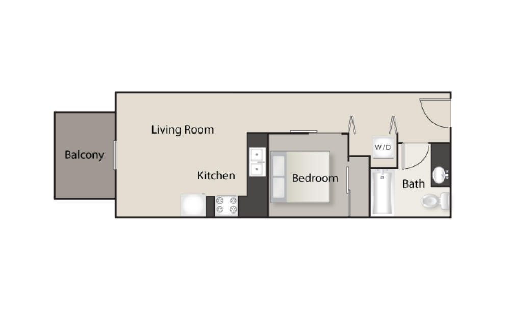 SH-A - 1 bedroom floorplan layout with 1 bath and 523 square feet.
