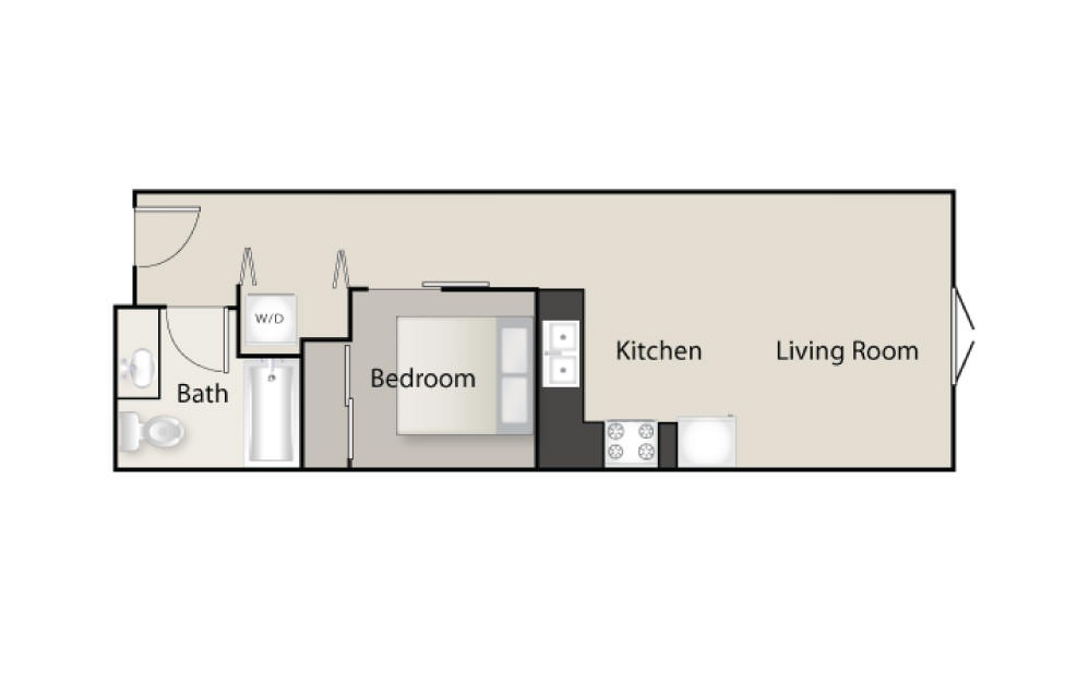 SH-B - 1 bedroom floorplan layout with 1 bath and 536 square feet.