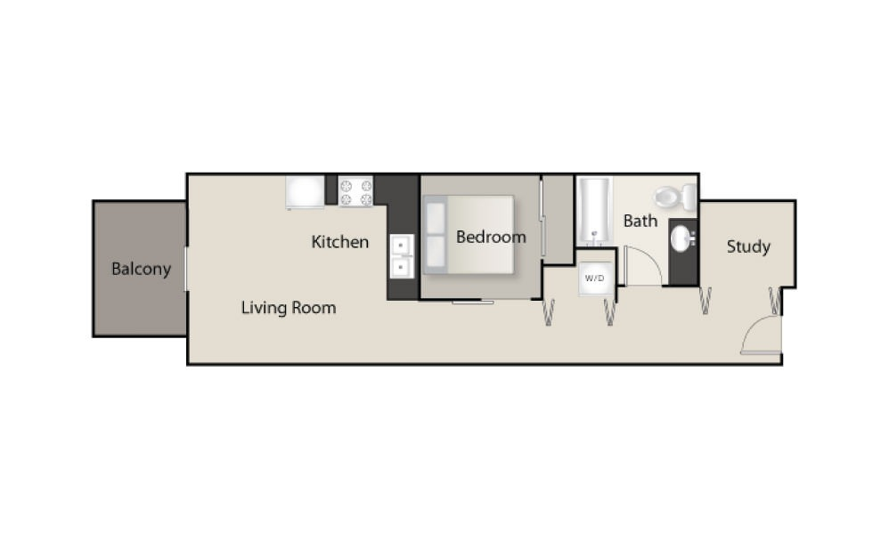SH-C - 1 bedroom floorplan layout with 1 bath and 624 square feet.
