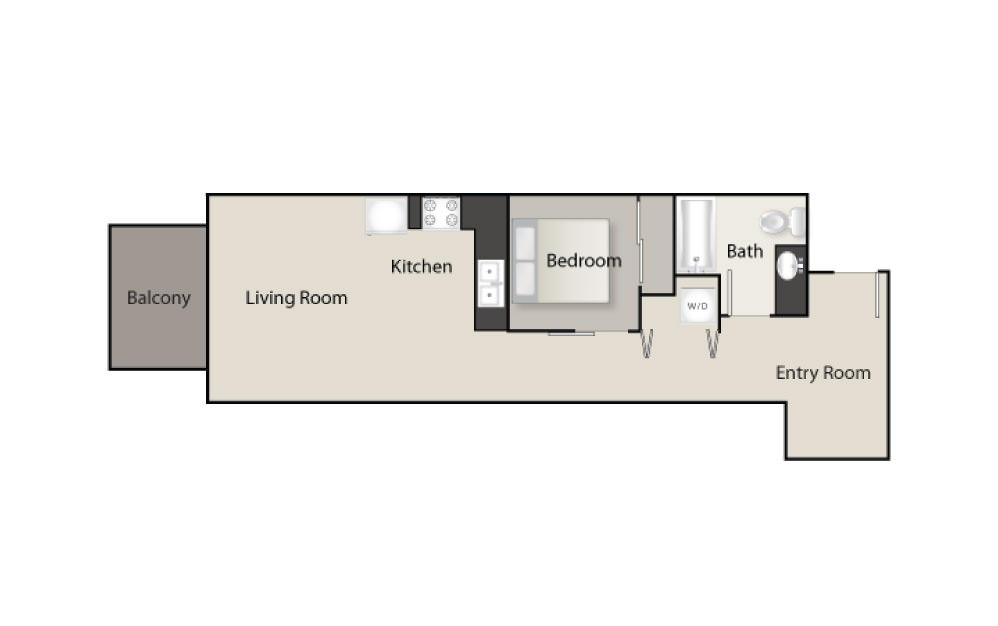 SH-D - 1 bedroom floorplan layout with 1 bath and 663 square feet.