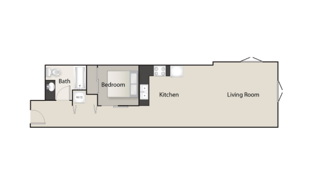 SH-F - 1 bedroom floorplan layout with 1 bath and 717 square feet.