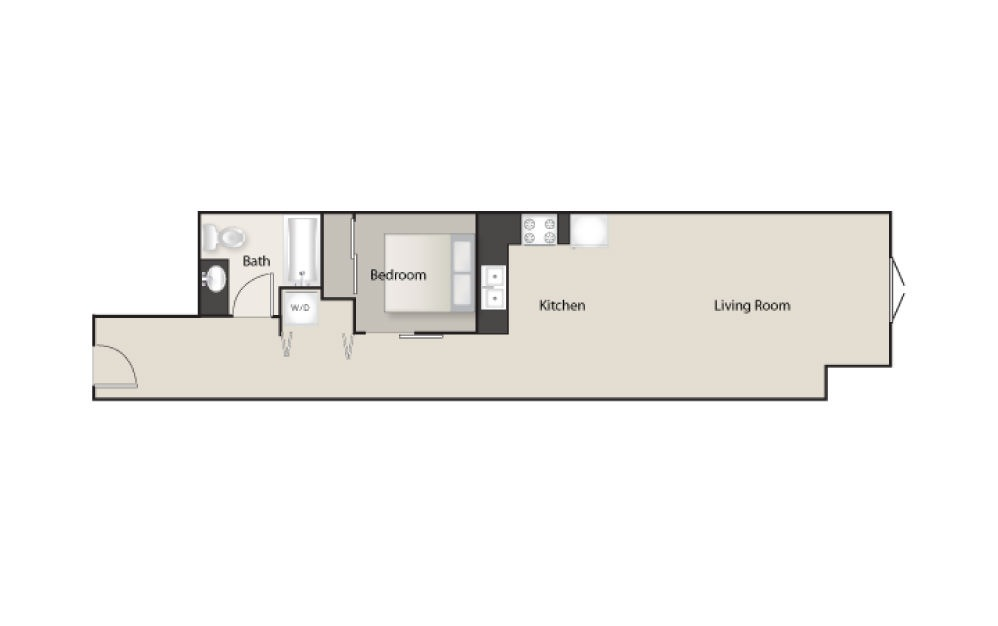 SH-G - 1 bedroom floorplan layout with 1 bath and 735 square feet.