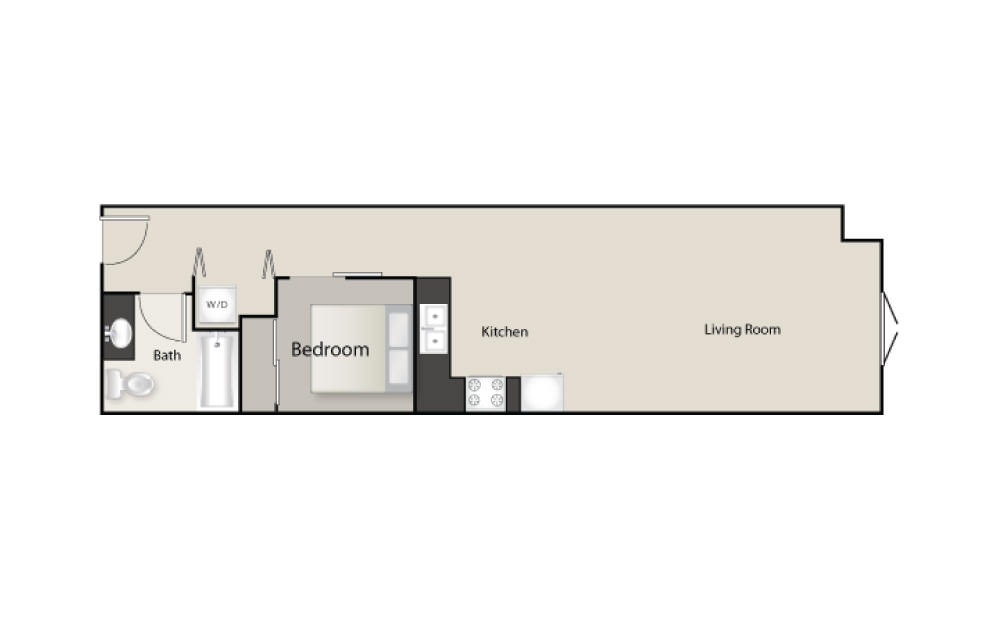 SH-H - 1 bedroom floorplan layout with 1 bath and 678 square feet.
