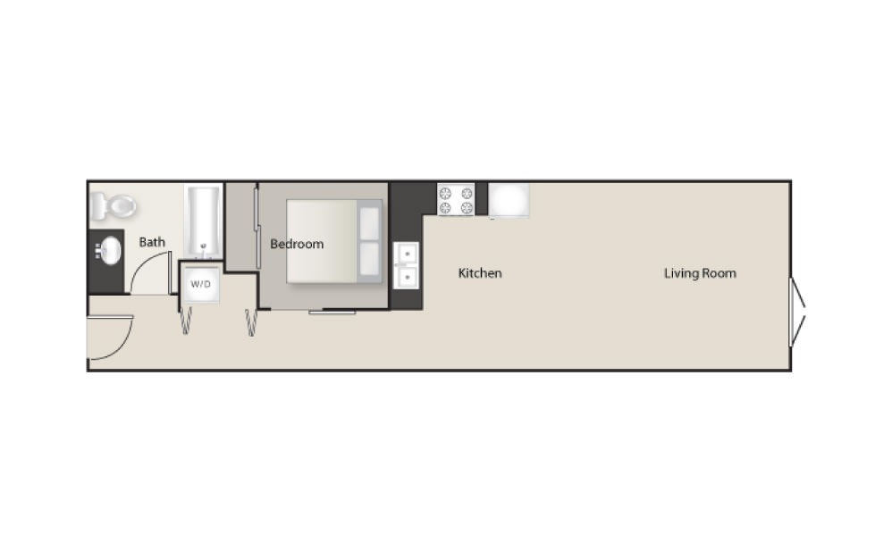 SH-I - 1 bedroom floorplan layout with 1 bath and 650 square feet.