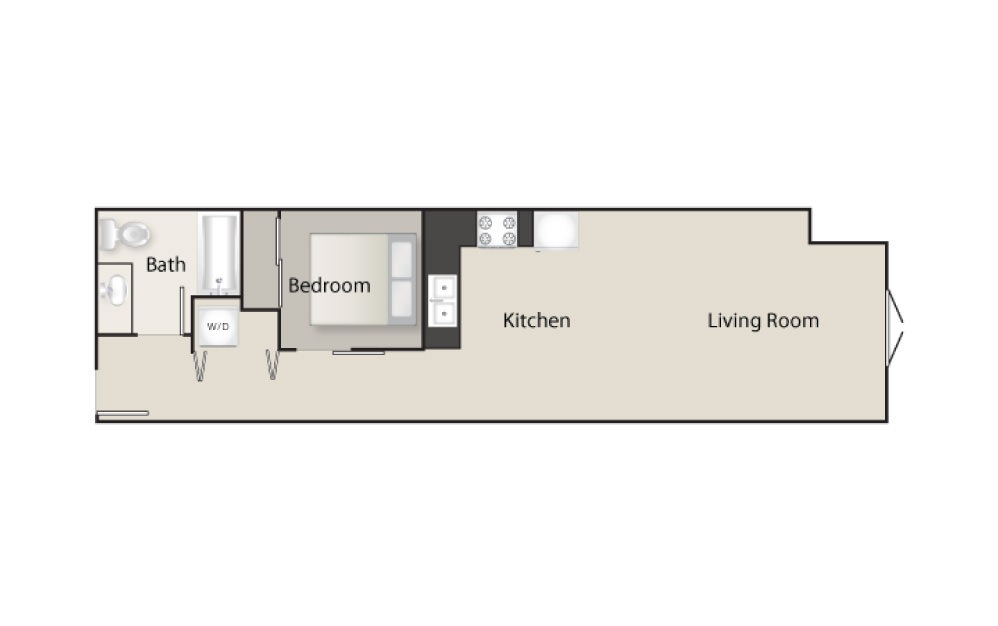 SH-J - 1 bedroom floorplan layout with 1 bath and 662 square feet.