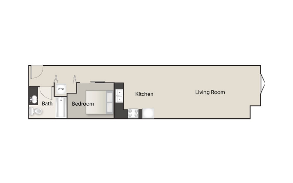 SH-K - 1 bedroom floorplan layout with 1 bath and 753 square feet.