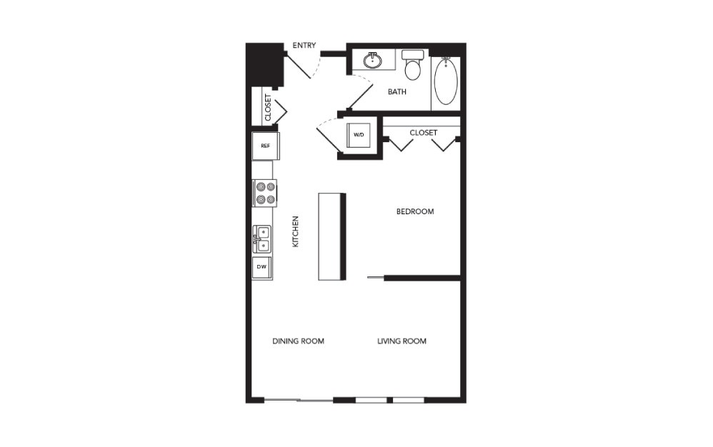 TN-A1 - 1 bedroom floorplan layout with 1 bath and 632 square feet.