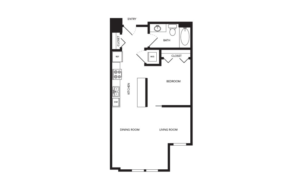 TN-A1.2 - 1 bedroom floorplan layout with 1 bath and 679 square feet.