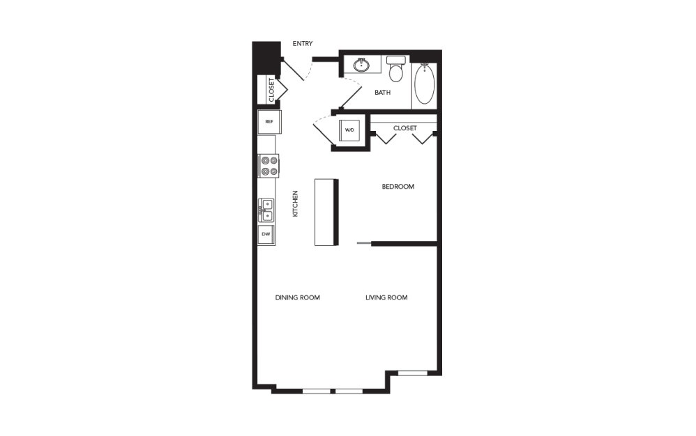 TN-A1.3 - 1 bedroom floorplan layout with 1 bath and 685 square feet.