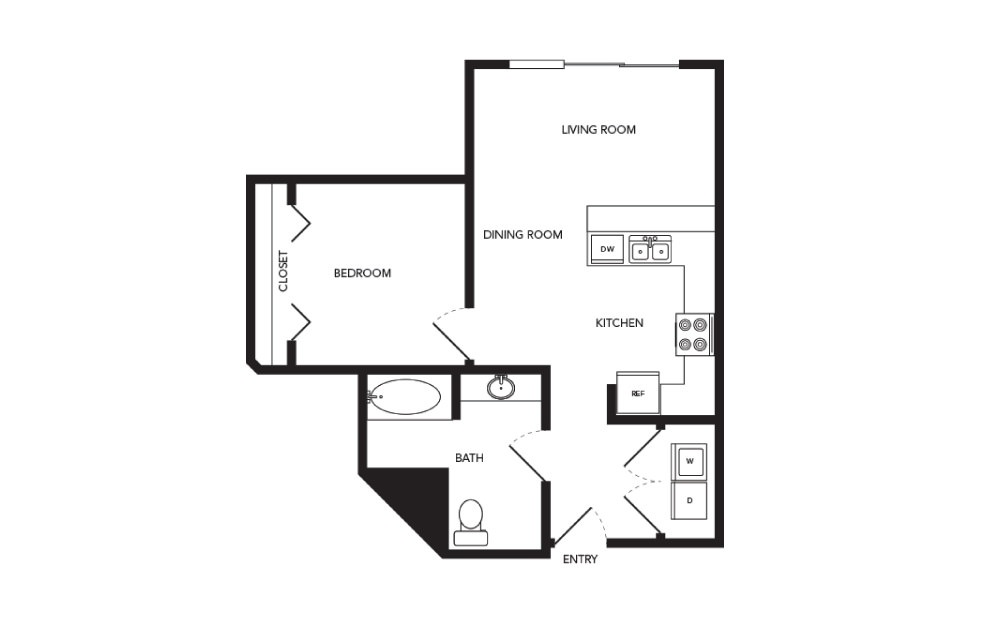 TN-A10 - 1 bedroom floorplan layout with 1 bath and 653 square feet.