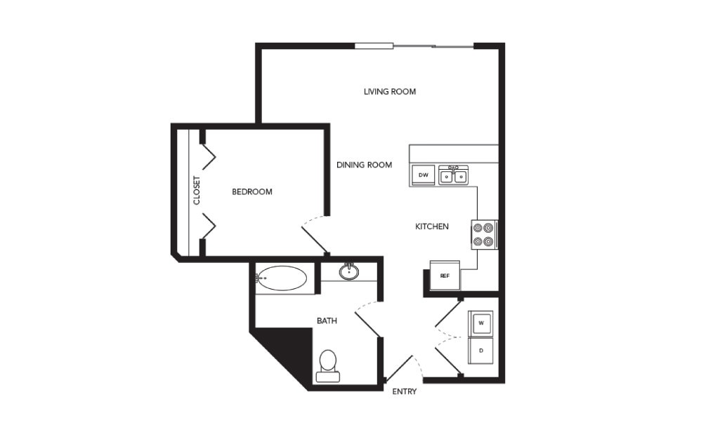 TN-A10.1 - 1 bedroom floorplan layout with 1 bath and 689 square feet.