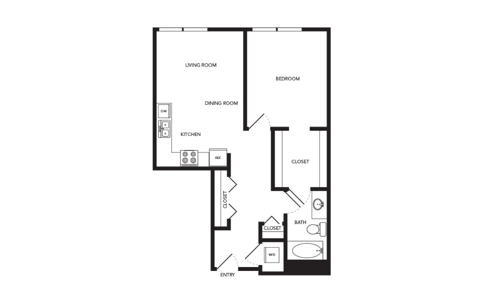 TN-A12 - 1 bedroom floorplan layout with 1 bath and 741 square feet.