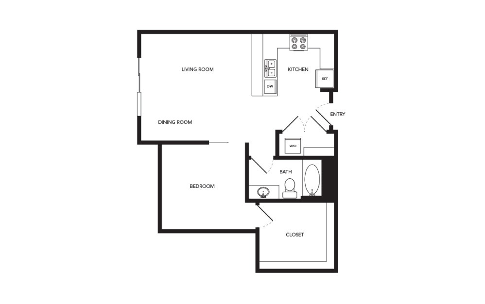 TN-A13 - 1 bedroom floorplan layout with 1 bath and 755 square feet.