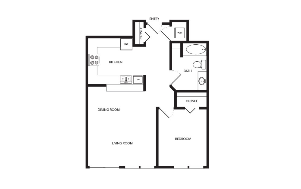 TN-A15 - 1 bedroom floorplan layout with 1 bath and 769 square feet.