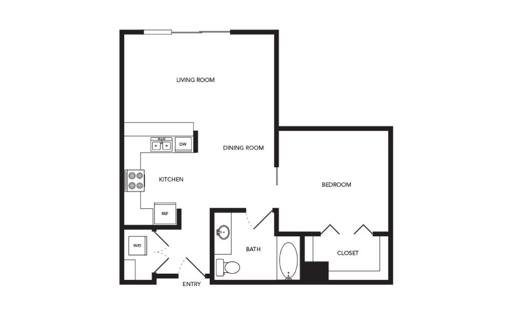 TN-A16 - 1 bedroom floorplan layout with 1 bath and 776 square feet.