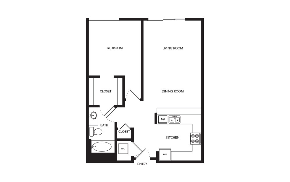 TN-A17 - 1 bedroom floorplan layout with 1 bath and 773 square feet.