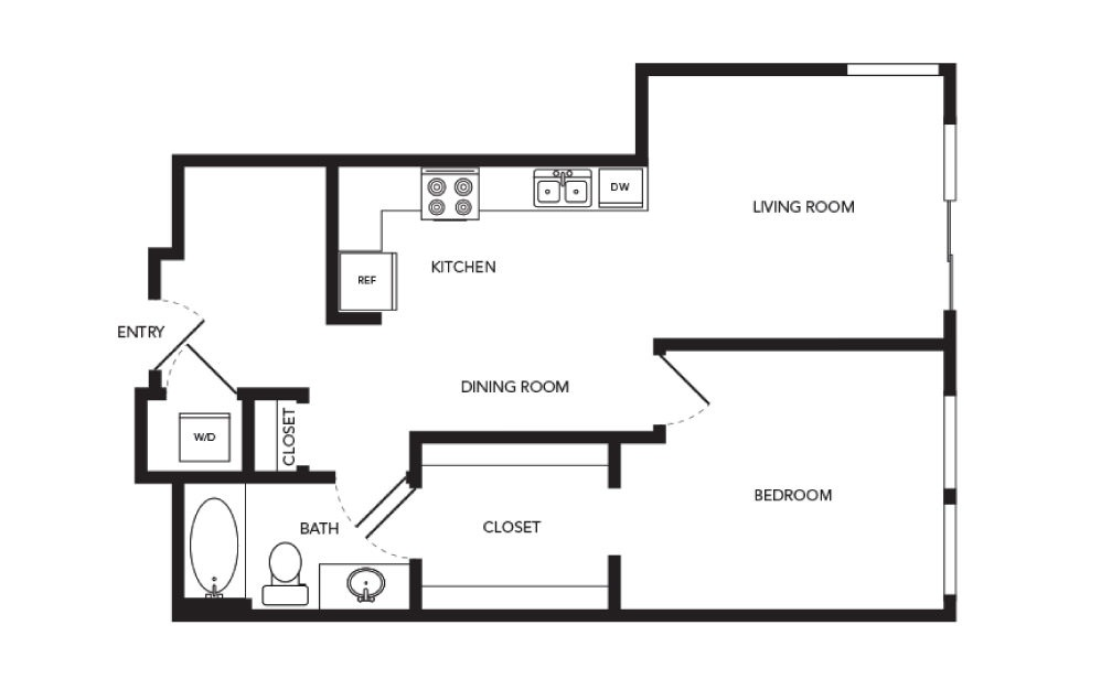 TN-A18 - 1 bedroom floorplan layout with 1 bath and 776 square feet.