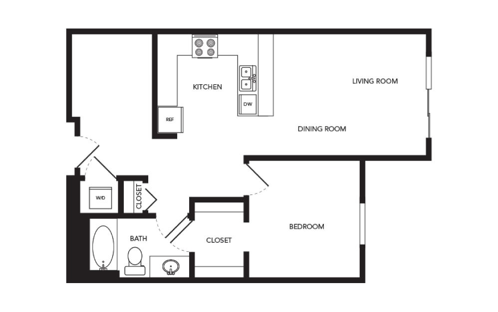 TN-A19 - 1 bedroom floorplan layout with 1 bath and 788 square feet.