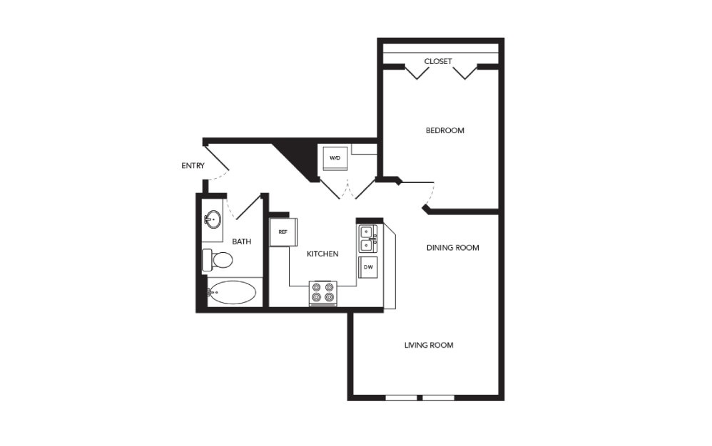 TN-A2 - 1 bedroom floorplan layout with 1 bath and 635 square feet.
