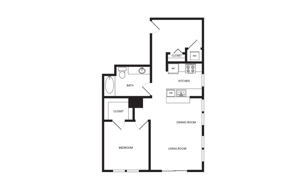 TN-A20 - 1 bedroom floorplan layout with 1 bath and 806 square feet.