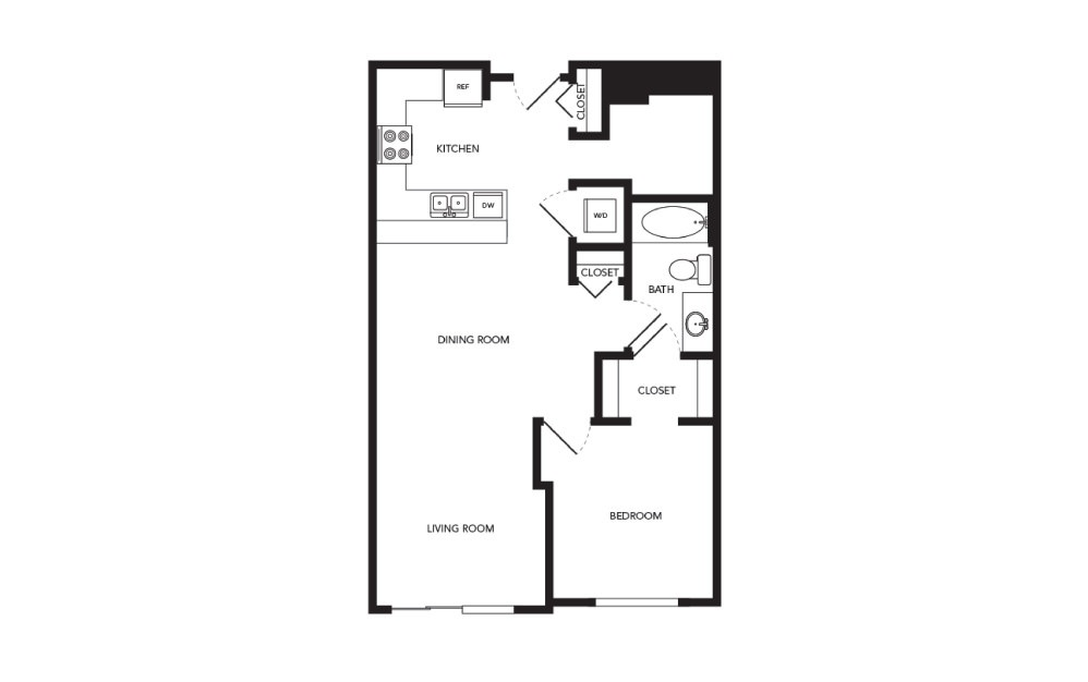 TN-A21 - 1 bedroom floorplan layout with 1 bath and 823 square feet.