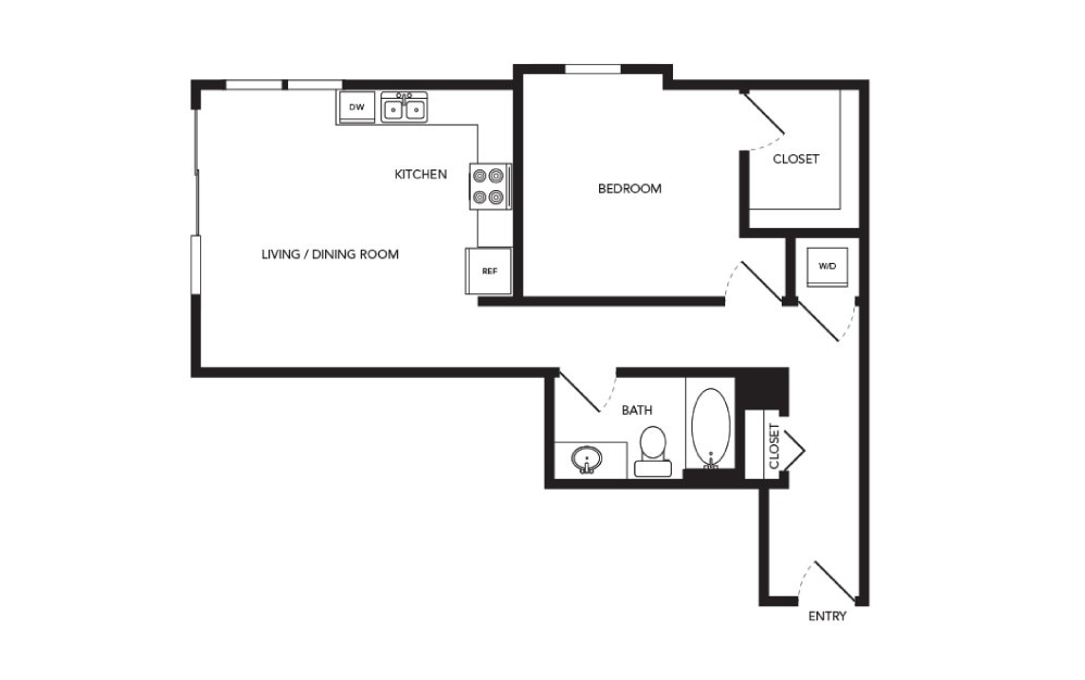 TN-A22.1 - 1 bedroom floorplan layout with 1 bath and 734 square feet.